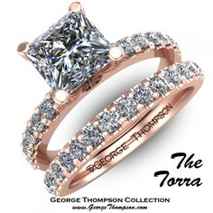 Beautiful rose gold diamond wedding set with classic diamond setting and encrusted bands.