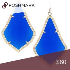 "Kendra Scott Cobalt Alexandra Earrings Add an electric pop of color to your ensemble with these vibrant cobalt earrings.  DETAILS •	14K Gold Plated Over Brass •	Size: 2""L x 1.36""W on earwire •	Material: cobalt cat's eye  NWT. price firm. Cheaper Ⓜ️ Kendra Scott Jewelry Earrings"