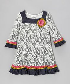 For a look that's totally comfy but still fun and frilly, this dress is the perfect match. Outfitted with lovely lace and rims of ruffles, its pullover fit lets it slip on in a snap.