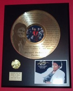 "Michael Jackson ""Thriller"" 24kt LP Gold Record LTD Edition Display ***FREE PRIORITY SHIPPING*** $129.95 (save $120.00)"