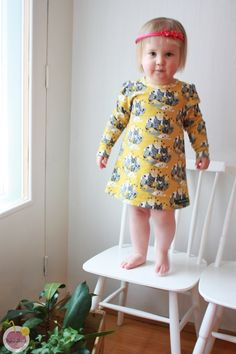 Sewed dress to toddler from Nosh organic Lynx jersey