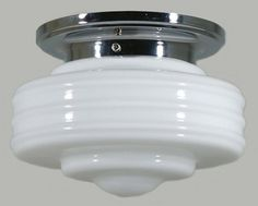 Chrome Ceiling Light with Detroit Glass