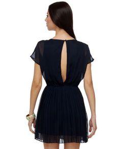 Navy Chiffon Pleat Cutout Dress