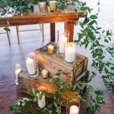 Warm up that sweetheart table with some candles, crates and greens ✨ #blvly #beckapillmorephotography @beckapillmore_photos