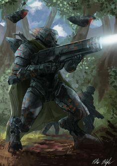 future combat armor and tech incorporation. Sci-fi armor and drones, robots. Futuristic Armour, Futuristic Art, Cyberpunk Character, Cyberpunk Art, Armor Concept, Weapon Concept Art, Future Weapons, Sci Fi Armor, Future Soldier