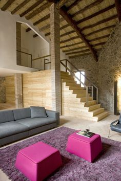 Modern great room in an old mill.