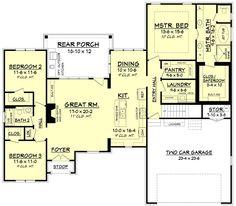 European Style House Plan - 3 Beds 2.00 Baths 1884 Sq/Ft Plan #430-110 Floor Plan - Main Floor Plan - Houseplans.com