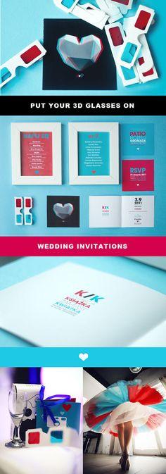 black red blue Wedding Invitations 3D GLASSES by Kasia Ruszkiewicz, via Behance