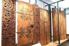 Carved doors / door tiles from a stave church in Lærdal, Western Norway. Exhibited in Bergen museum. From the 13th century.