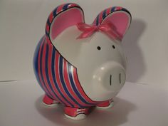 Tomboy Piggy Bank Personalized w/Jeans & Striped by PigPatrol, $36.00