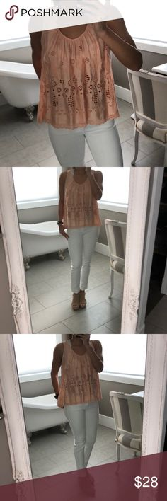 Anthropologie Vanessa Virginia Eyelet Peach Top So cute! Eyelet pattern. Flowy size 6. Perfect with white denim and a lace bralet. Skinny AG stilt jeans in picture also for sale in my closet! Top is size 6. EUC. No holes, stains or excessive wear. Anthropologie Tops Blouses