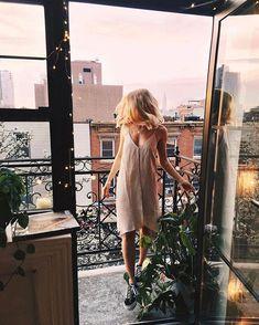 Our favorite weather is windows open weather—right, @viktoria.dahlberg? Shop the Six Crisp Days Tie-Back Slip Dress, SKU
