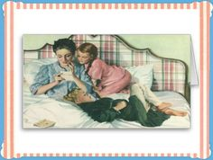 Shop Vintage Mother and Children Reading Cards in Bed created by YesterdayCafe. Kids Reading, Card Reading, Mothers Day Cards, Mothers Love, Family Memories, Childhood Memories, Read Letters, Mother's Day Greeting Cards, Framed Prints