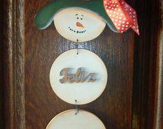 Enfeite Boneco de Neve Feliz Natal
