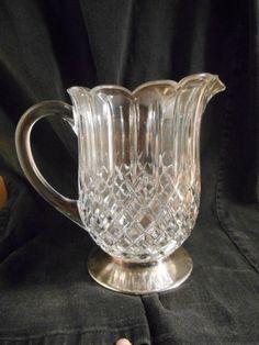 Stunning Diamond Pattern Glass 40oz Pitcher Metal Silverplate Base Scalloped