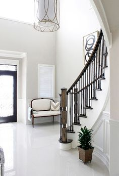 AM Dolce Vita: Painted Staircase Reveal, Foyer Painted Staircase, Curved  Staircase With Wrought