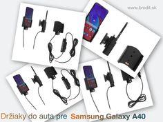 Nové držiaky do auta pre Samsung Galaxy A40. Pasívny držiak Brodit pre pevnú montáž v aute, aktívny s CL nabíjačkou, s USB alebo s Molex konektorom. Samsung Galaxy, Usb