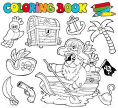 Libro Para Colorear. Piratas, animales y objetos relacionados con la piratería.