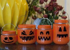 pumpkins--paint and fill with candy or votive--will need transparent paint if wanting more light to show through Jam Jar Crafts, Baby Food Jar Crafts, Baby Food Jars, Cute Halloween, Holidays Halloween, Halloween Stuff, Halloween Costumes, Halloween Lanterns, Halloween Decorations