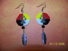 Handmade beaded Paw medicine wheel earrings by EagleplumeCreations