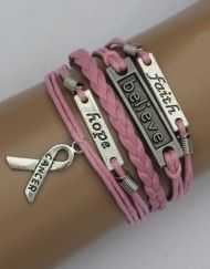 Breast Cancer Awareness Bracelet - Get 3 FREE $15.00 ModWraps at www.gomodestly.com/modwraps with coupon: PINTERESTFREE #bracelets #freebie #jewelry #coupon