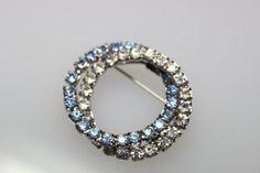Vintage Two Ring Blue Rhinestone Brooch by CaityAshBadashery, $9.95
