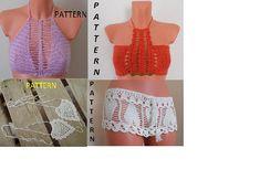 Crochet HalterTop Pattern, Crochet Bikini Top Pattern. Crochet Crop Top Pattern Shorts Crochet, Crochet Halter Tops, Crochet Bikini Top, Sexy Bikini, Bikini Tops, Crop Top Pattern, Bikini Pattern, Crochet Round, Irish Crochet