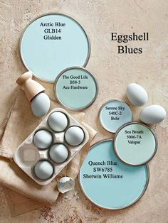 "Eggshell Blue Paint Colors This livable hue can underscore the palette of a whole house. ""Maybe it's the walls in your living room and the ceiling in your bedroom, a table in the den, and china in the dining room,"" Penney says."