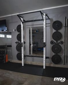 Check out our popular folding squat rack (As Seen on ABC's Shark Tank) that folds up against the wall when not in use! Just because you have limited space, doesn't mean you can't create the home gym of your dreams. Home Gym Basement, Home Gym Garage, Diy Home Gym, Home Gym Decor, Gym Room At Home, Workout Room Home, Garage House, Workout Rooms, At Home Crossfit Gym