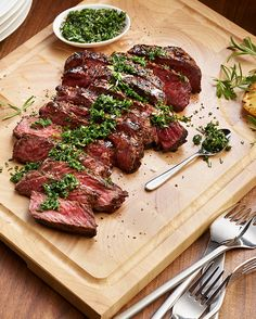 A restaurant-worthy dinner in as little as 20 minutes: our Sirloin Steak with Fresh Herbs recipe. Perfect for a weeknight, date night or any special occasion. Herb Recipes, Sirloin Steaks, How To Cook Steak, Heart Healthy Recipes, Fresh Herbs, Main Dishes, Meals, Dinner, Cooking