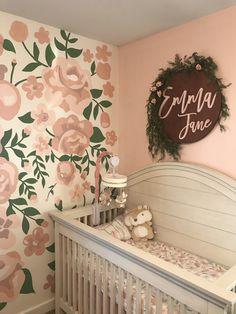 #babygirlnursery #nursery #accentwall #baby #roses