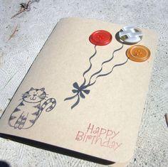 Handmade Birthday Card-Cat