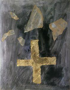 Antoni Tàpies. Creu de paper de diari (Cruz de papel periódico), 1946-1947. Collage y acuarela sobre papel. 40x31cm. Fuente: Fundación Tápies (www.fundaciotapies.org).