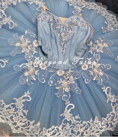 Blue platter professional ballet tutu, lace peplum style applique, crystal embellishments @beyondtutus.com