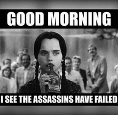 Addams Family Quotes, The Addams Family, Funny Good Morning Memes, Good Morning Quotes For Him, Sarcastic Quotes, Funny Quotes, Stupid Funny, Hilarious, Fun Funny