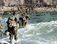 "pavelnkhv: "" 'D-Day + Troops of the US Engineer Special Brigade, wade through the surf to the northern coast of France, at Fox Green Sector of Omaha Beach. Battle Of Normandy, D Day Normandy, Normandy Invasion, Normandy Beach, Normandy France, Omaha Beach, D Day Invasion, D Day Landings, Ww2 Photos"