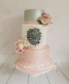 Chalkboard and Roses Wedding Cake by Mr Baker's Cakes - http://cakesdecor.com/cakes/244926-chalkboard-and-roses-wedding-cake