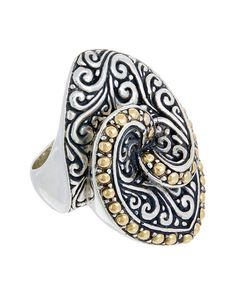 Rue La La — Samuel B 18K & Silver Marquise Swirl Ring