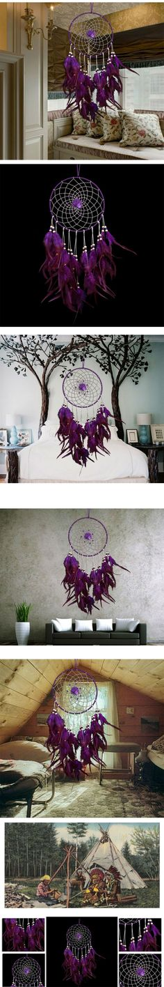 New Design Purple Dreamcatcher Wind Chimes Indian Style Flower Feather Pendant Dream Catcher Gift For Home Decoration $6.25