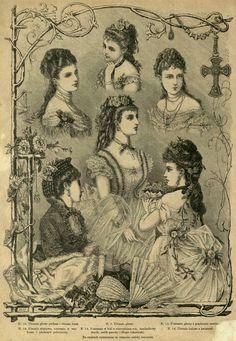 Fryzury balowe, 1875; Ball hairstyles, 1875 Victorian Hats, Victorian Design, 1870s Fashion, Edwardian Fashion, Kaiser Franz, Ball Hairstyles, Victorian Hairstyles, Woman Illustration, Fashion Plates