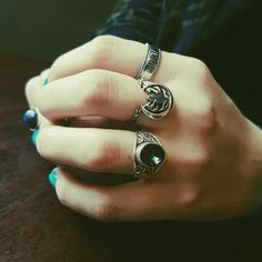 ♆ How to get a fierce stack by @sammymarsh_ ♆ Shop Running With The Wolves Now! ✧♆✧ shopdixi.com ✧♆✧ dixi // jewellery // jewelry // boho // bohemian // grunge // goth // dark // mystic // magic // witchy // labradorite // sterling silver