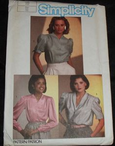 """Simplicity 6706 Pattern VINTAGE 1980s CLASSIC PLEATED BLOUSE 10 bust 32 1/2"""""""