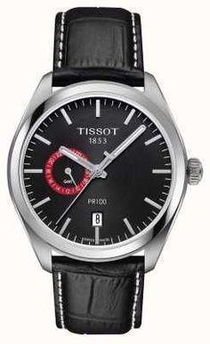 Tissot Mens PR100 Dual Time Black Dial Black Leather Strap T1014521605100
