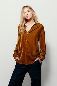 CP Shades Velvet Henley Pullover at Free People Clothing Boutique