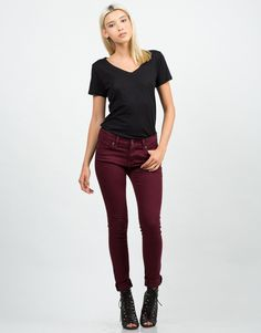 Stretchy Denim Skinny Jeans - Red Jeans - Womens Denim – Bottoms – 2020AVE