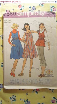 SALE Uncut 1970's Simplicity Sewing Pattern 7589 by EarthToMarrs, $8.00