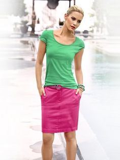 #HeineShoppingliste Chinorock und Gürtel in pink, Shirt und Armreif in grün