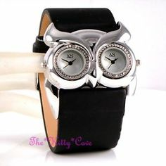 Designer Black Silver Ladies Owl Twin Time Dual Dial Watch w/ Swarovski Crystals
