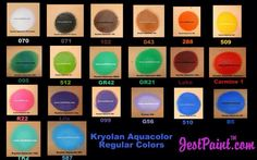 Kryloan color swatches by JestPaint Face Painting Tips, Face Painting Designs, Painting Patterns, Body Painting, Paint Swatches, Color Swatches, Paint Supplies, Body Modifications, Face And Body