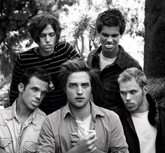 "the boys of ""Twilight""....from the back Jackson Rathbone, Taylor Lautner, Cam Gigandet, Robert Pattinson,and Kellan Lutz"